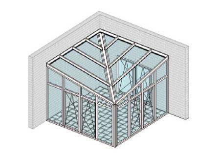 Pultdach mittig diagonal mit Rinnenkehle