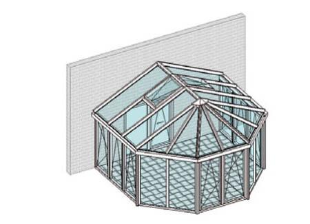 Satteldach, vorn mit Viereck-Halbkreis-Pavillondach